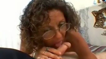 Brunette Cougar With Glasses And Small Tits Gives Head