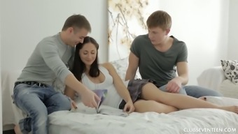 Tempting Young Brunette Zarina Gets Intimate With Her Boyfriend And His Friend