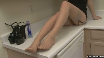 Faye Reagan In Stockings Toy Fucking Her Pussy In Erotic Kitchen Masturbation
