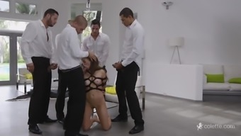 Five Men In Suits Gangbang A Skinny Freckled Beauty