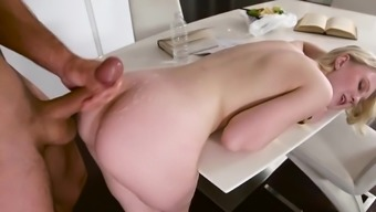 Cum On Ass To End Blonde'S Romantic Breakfast