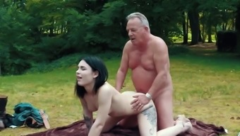 Romantic Picnic Turns Into Sexy Fuck For Grandpa And Her Teen Girlfriend