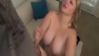 Huge-Titted Lady Gets Splattered With Cum