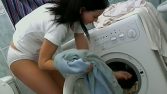 Perverted Teen In White Panties Masturbates Pussy On A Washing Machine