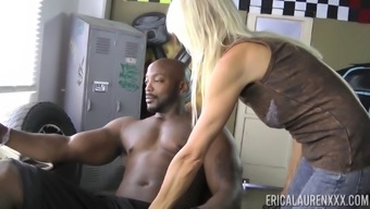 Erica Lauren Gets Naked For A Brown Stud And Grabs His Wiener