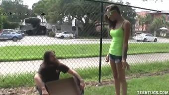 Sasha Foxxx Superb Handjob For Homeless Guy