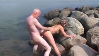 Old Man Fucks On The Beach