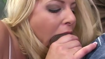 Hot Blonde Wife Sucks And Fucks First Monster Black Cock