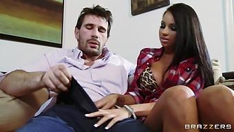 Hot Ass Brunette Milf Raven Bay Gets Fucked Balls Deep On The Sofa