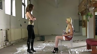 Submissive Tied Up Blonde Is Humiliated By Stud And Dominant Bitch