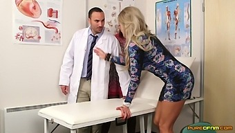 Horny Male Doctor Gets Shared By Two Clothed Females