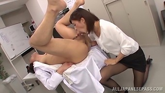 Office Chick Gets Her Hands On The Boss'S Tasty Asian Cock