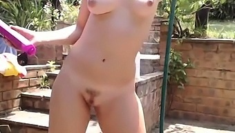 South African Girl Showering Outside