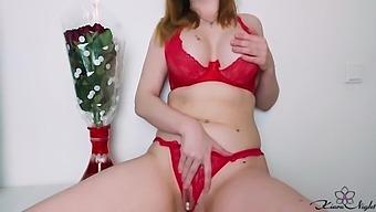 Girl In Red Lingerie Sensual Masturbate Pussy Before Date