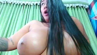 Chubby Latina Is Eating Her Tits