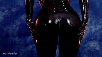 Shiny Latex Rubber Catsuit Curvy Milf. Dominatrix Arya Grander Thigh High Over Knee Boots Corset 4k