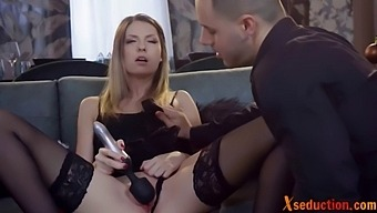 Lingerie Babe Toys Pussy Before Sex And Blowjob