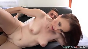 Gilf Strips Before Riding Cock On Couch