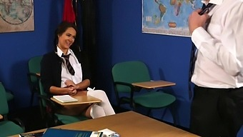 Fine Schoolgirl Shares Wonderful Cfnm With One Of Her Teachers