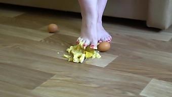 Fat Legs Bare Feet Mercilessly Trampled Banana And Raw Eggs. Crush Fetish