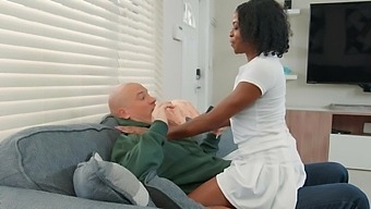 Adorable Ebony Girl Melody Cummings Moans While Riding A White Cock