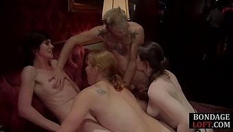 Bdsm Ginger Tied Up And Toyed In Front Of A Group