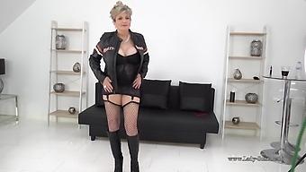 Sexy Mature Biker Babe Lady Sonia Strips Down