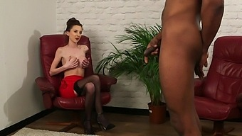 Ella Rose Shows Off Thong-Clad Ass While Watching Black Guy Jerk Off