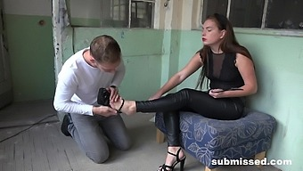 Dominant Hottie Treats Her Male Slave With Quite The Attitude