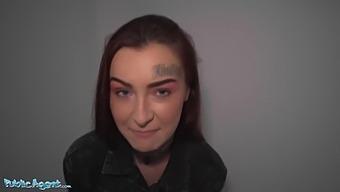 Tattooed Skinny Redhead Gets Fucked On The Floor