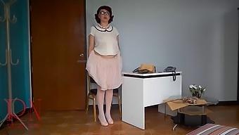 Naked Secretary At Office. Undressing Employee.