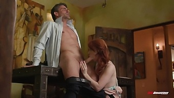 Thin Redhead Shoves Older Man'S Cock Directly In Her Cunt